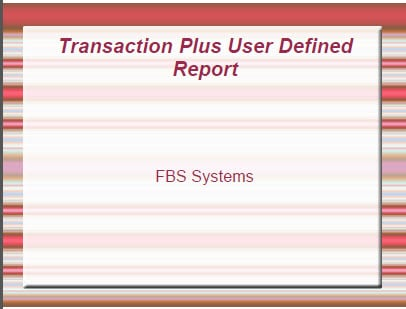 User Defined Report thumbnail