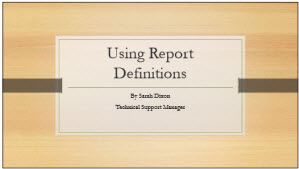Using Report Definitions Thumbnail